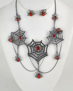 Hematite Tone Metal / Indian Red Rhinestone / Lead Compliant / Spider Charm / Halloween / Necklace & Post Earring Set