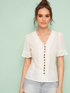 Shein Eyelet Embroidery V-neck Button Front Blouse Blouse Neck Designs, Blouse Styles, V Neck Blouse, Beautiful Blouses, Lace Tops, Dressmaking, Types Of Sleeves, Blouses For Women, Fashion Outfits