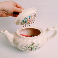 Cute tea pot pin cushion / Мягкое сердце колючей игольницы - Ярмарка Мастеров - ручная работа, handmade