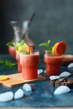 Spiced watermelon drink with mint and citrus