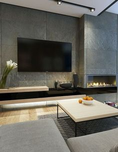 Living Room Modern Tv Wall Design Awesome Tv Wall Mount Ideas for Living Room – Viralhomezfo Fireplace Tv Wall, Living Room With Fireplace, Fireplace Design, Fireplace Modern, Wall Tv, Fireplace Ideas, Small Fireplace, Library Fireplace, Fireplace Feature Wall