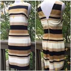 Banana Republic Gorgeous Dress !   Banana Republic gorgeous dress ! Fully lined in an off white 100% polyester ! Scoop front neckline, back is a V neckline ! Exposed back zipper 10 inches in gold ! Multi striped ! Black, light brown, off white and gold with golden flecks in gold stripes ! Length is about 37 inches ! Sleeveless ! Quite Beautiful !  Banana Republic Dresses