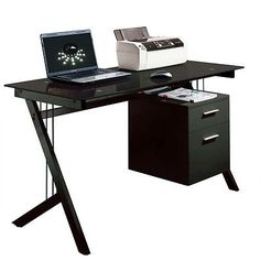 New-Computer-Desk-PC-Table-Home-Office-Workstation-Black-Glass-Top-amp-Side-Drawer
