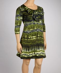 0f8d446236c Green Tie-Dye Ruffle Elbow-Sleeve Dress - Plus