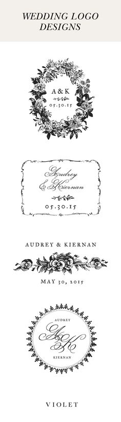 Free customizable classic wedding logos from violetwedding.com. Full Bloom collection designed by Lucky Luxe Couture Correspondence.