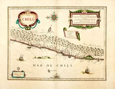 Willem Blaeu, cartographer. Copper Engraved Map of Chile (sic) with Hand-Coloring. Amsterdam: 1635.