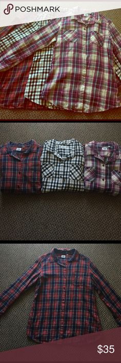 Bundle of 3 Uniqlo Flannel Shirts! Super soft checked / plaid Uniqlo flannels! I bought these in Japan, and their sizing is different than in the U.S. The tags say L, but I'm a S in shirts and dresses and these fit me perfectly. They're all in great condition and looking for a new home :) Uniqlo Tops Button Down Shirts