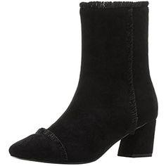 Womens Fashion Leather Square Toe Block Heel Casual Zipper Mid Calf Sock Booties