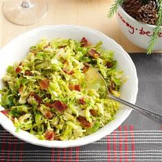 Brussels Sprouts with Bacon & Garlic Recipe- Recipes  When we have company, these sprouts are my go-to side dish because they look and taste fantastic. Fancy them up a notch with pancetta instead of bacon. —Mandy Rivers, Lexington, SC