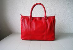 Leather handbagsAdeleshop tote laptop purse in Red by Adeleshop, $145.00
