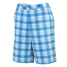 Puma Blur Plaid Tech Mens Golf Shorts Blue Aster Multi