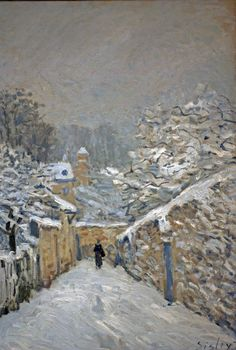 Neige à Louveciennes, huile sur toile d'Alfred Sisley, peintre britannique du mouvement Impressionniste (1839-1899). Collection du Musée d'Orsay.