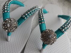 Teal Bridal Flip Flops / Wedding Color Flip by RossyAccesorios, $35.00