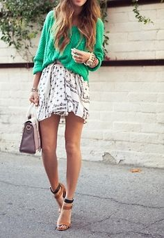 Amaizing! colorfull sweater, loose skirt, ankle strap sandals