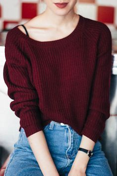 $14.99 for Wine Red Boat Neck Sweater WINE RED: Sweaters | ZAFUL