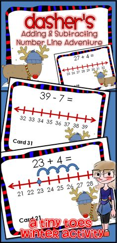 Looking for a fun way to review Common Core Math standards for 1st and 2nd Grade? These Winter themed Reindeer Addition and Subtraction on the Number Line Task Cards are an excellent review. I have used these in centers, as task cards, as partner work, a scoot game or taped around the room for a room search, find & answer. I love that this is fun not only at Christmas, but all winter long! $