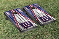 New York Giants NFL Football Cornhole Game Set Triangle Weathered Version