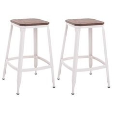 "HomCom 25"" Counter Height Industrial Modern Metal Barstool - Set of 2 - Square Wood Top - White Image 1 of 6"