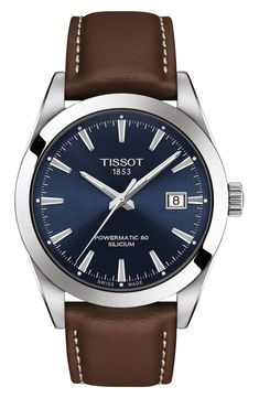 Tissot Gentleman Powermatic 80 Silicium Watch - Brown N/A Elegant Watches, Stylish Watches, Beautiful Watches, Cool Watches, Men's Watches, Male Watches, Nice Mens Watches, Leather Watches For Men, Black Watches