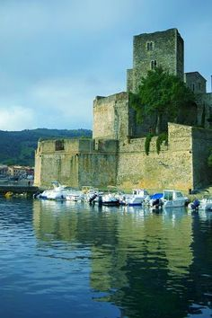 The Chateau Royal de Collioure is a massive French royal castle in the town of Collioure, a few kilometers north of the Spanish border.  The Knights Templar built the castle around 1207 and integrated it to the royal castle in 1345.  The Chateau is the juxtaposition of at least four castles.