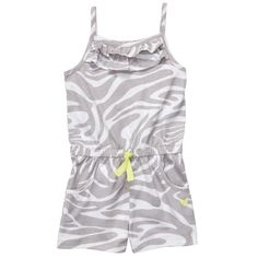 grey print ruffle-front cotton jersey romper. #carters