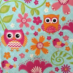 Owls, coordinates with Pink-Green Stripe and Pink-Green Flower