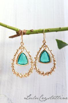 Blue+Zircon+Earrings++Chandelier++Dangle+by+LuluCrystalline,+$34.00