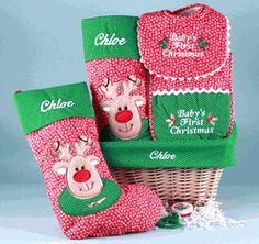 """""""Baby's First Christmas"""" Personalized Basket $64.95"""