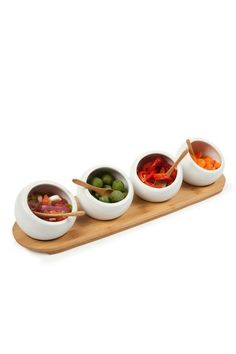 really cute entertainment tray set.  the bowls are ceramic!  It's 68% off right now for only $16.