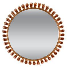 Mid-Century Circular Mirror with Glass Frame in Amber Color, Italy 1950s | From a unique collection of antique and modern wall mirrors at https://www.1stdibs.com/furniture/mirrors/wall-mirrors/