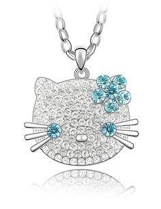 HELLO KITTY Gold Valentines Gift Necklace Pendant Made With SWAROVSKI CRYSTAL | eBay