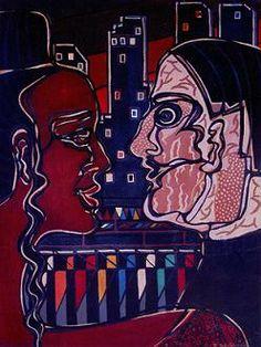 Evening discord, 1995, Nadia Russ, neopoprealism, acrylic/canvas