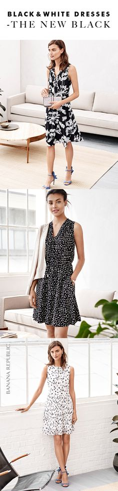 Add a chic touch to your look with our timeless black and white print dresses. Whether you opt for bold floral or polka dot you can easily wear these frocks anywhere, anytime | Banana Republic