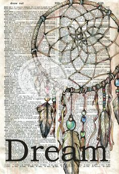 PRINT:  Dream Catcher Mixed Media Drawing on Dictionary Page, https://www.etsy.com/listing/196511860/print-dream-catcher-mixed-media-drawing?ref=listing-2