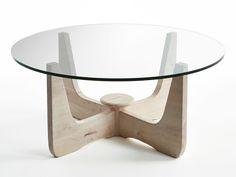 table basse ronde plateau verre pieds en hva massif d90 cm bergen - Pied Pour Table Basse En Verre