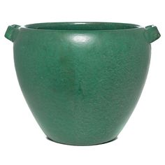 "Weller jardinière, double handled form in a green matt glaze, unmarked, 13""w x 10""h"