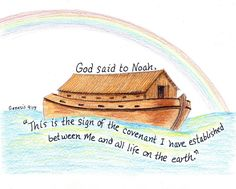 Noahs Ark Inspirational Bible Verse Print by LindaRobbsArt on Etsy