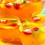 """Easy Fruit Cooler Recipe    Ingredients:    1 bottle of """"Asti Spumante"""" or """"Moscato d' Asti"""" Sparkling Wine  1 cup Peach Nectar  1/4 cup Peach Liqueur  1/2 cup Lemon Juice  2 Peaches cut into bite sized pieces  1/2 bag of frozen Slice Strawberries  Preparation:    Mix all of the ingredients in a pitcher or large glass bowl  Cover and refrigerate for at least 4 hours  Garnish with frozen Strawberry Slices  Serve in glasses over ice"""