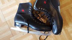 Vintage Men's SLM Canada Canadian Maple Leaf Black Ice Figure Skates Size 12