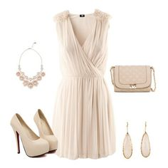 Beige Embroidery V-neck Sleeveless Mini Chinlon Dress - Cocktail - Dresses