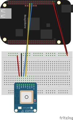 Schematic showing how to connect the GPS to a Beaglebone Black