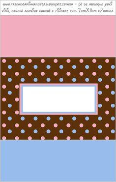 Poá Marrom Azul e Rosa - Kit Completo com molduras para convites, rótulos para guloseimas, lembrancinhas e imagens!