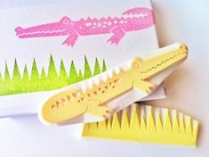 Crocodile hand carved rubber stamps