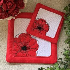 Poppy Coasters - Free Instant Machine Embroidery Designs