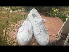 2 Numara Makrome İp İle Örgü Spor Ayakkabı Yapımı 2. Bölüm - YouTube Spring Boots, Crochet Shoes, Yeezy, Adidas Sneakers, Crochet Patterns, Youtube, Inspiration, Clothes, Fashion