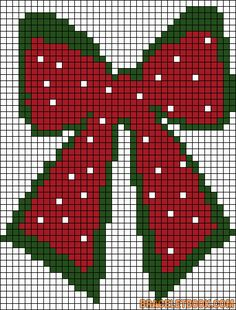 Christmas Bow Ribbon to teach girls to cross stitch Christmas Perler Beads, Cross Stitch Christmas Ornaments, Xmas Cross Stitch, Christmas Bows, Christmas Embroidery, Cross Stitch Charts, Cross Stitch Designs, Cross Stitching, Cross Stitch Embroidery