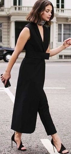 Black Jumpsuit /roressclothes/ closet ideas #women fashion outfit #clothing style apparel