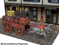 PAPERMAU: The Fire Brigade Carriage - A Vintage Paper Model - by Tuck DB