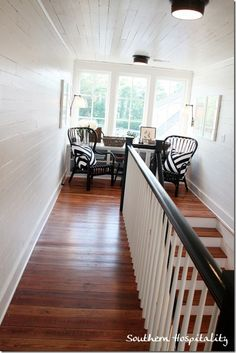 the floor and the railing/stairs