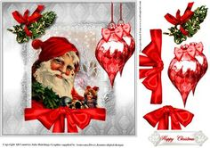 Under The Mistletoe Sant card topper on Craftsuprint designed by Julie Hutchings - Lovely Father Christmas card topper with Mistletoe,Baubles and bows sentiment tag Happy Christmas - Now available for download!